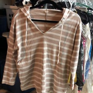 J.Crew tan and cream striped hoodie